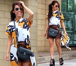 Sindy N - Bag, Shorts, Shoes - Yellow Shirt Dress