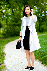 Vivian Tse - River Island Sleeveless Trench Jacket, Mango Striped Dress, Zara High Waisted Pencil Skirt, Mango Clutch, Manfield Slip On Sneakers - Not just for the office
