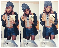 Raye Silver♡ - Vans Beanie, American Eagle Crop Top, Jacob Highwaisted, H&M Sweater - Oh how cutee