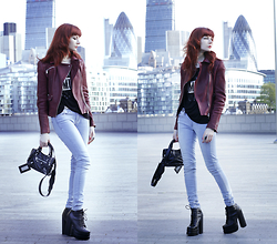 Lady Juliet - Karen Millen Biker Jacket, Tommy Hilfiger Jeans, Balenciaga Mini City Bag, Jeffrey Campbell Platform Boots, Bershka Top - Skyscrapers