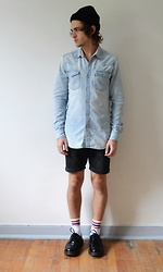 Louis P. - Topman Beanie, Levi's® Denim Shirt, H&M Shorts, Urban Outfitters Gym Socks, Dr. Martens Blucher Shoes - IDK