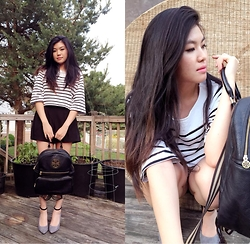 Julie K. - Tory Burch Backpack, Korea Black And White Shirt, Korea High Waist Shorts, Bcbg Black And Gray Heels - My Tory and Strips