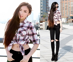 Kaitlyn N - Forever 21 Plaid Shirt, Jbrand Jeans, Forever 21 Boots - Plaid