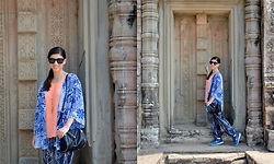 Sera A. - Nordstrom Black Matte Sunglasses, J. Crew Gold Tassel Necklace, Mossimo Tangerine Top, Forever 21 Exposed Zipper Bag, Forever 21 Blue & White Kimono, Mossimo Printed Pants, Nike Flyknit Lunar 3 Sneakers - Holiday in Cambodia