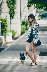 Maria P - Goldie London Zebra Print Blazer, Bershka Shorts, Mango Studded Purse, Aldo Studded Sandals - Zebra Love