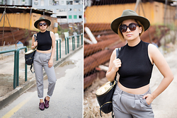 Carla Florendo - H&M Hat, Forever 21 Turtleneck Cropped Top, Bershka Trousers, Steve Madden Bag, Sunnies Studios, Velvet Loafers - Menswear Theory