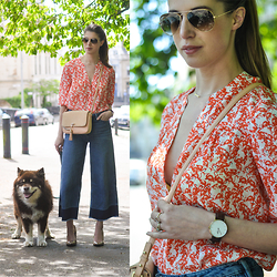 Wendy H G - Hallhuber Shirt, Reiss Bag, H&M Jeans, Ray Ban Glasses - Flamingos