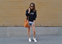 Judy Wu - Ray Ban Aviators, What About Yves Sweater, Zara Shorts, Converse Chucks, Mansur Gavriel Bucket Bag - What About Yves?