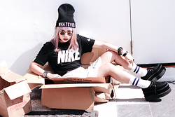 Jessica Grrl - The Yub Whatever Beanie, The Yub Stripe Skirt, Nike Tee, Tuk Creepers - Dead Fox