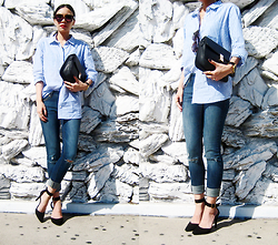 Visa Lom - Forever 21 Classic Pinstriped Shirt, Roc Eyewear Shelly Sunglasses, Dl1961 Emma Jeans In Heath - The Blues