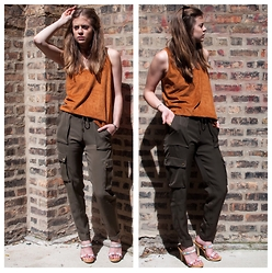Alexandria Deanne - Zara Top, H&M Pants, Vintage Shoes - Orange & Green