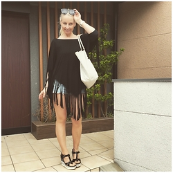 Radana Adachi - Diesel Vedge Shoes, Replay Shorts, Denny Rose Fringes Top, Goyard Bag, Céline Sunglasses - June in Tokyo