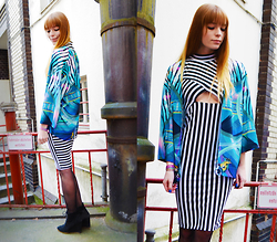 Malin Rouge - Monki Printed Kimono, Asos Striped Dress, Zara Wedges - Zebra