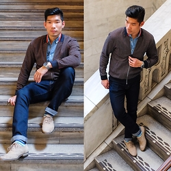 Leo Chan - Perry Ellis Jacquard Bomber Jacket, Uniqlo Slim Denim Shirt, Uniqlo Jeans, Fossil Chronograph Watch, Unsimply Stitched Socks Sprezzabox May Edition, Florsheim Jet Wing Ox Shoes - Confidently #VerryPerry