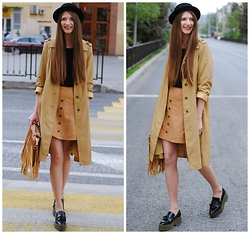 Yulia Sidorenko - H&M Hat, Sinsay Top, Zara Platform Shoes, Bag - Button front skirt
