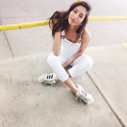 Olivia - American Apparel Overalls, Adidas Sneakers - 22 going on 2