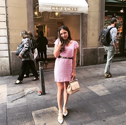 Ana Teodora Ion - Valentino Studded Flats, Zara Pink Dress, Dolce & Gabbana Miss Sicily Medium Bag - Pastels in Summer