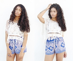 Konstantina Antoniadou - Style Moi Crochet Top, Upcycled Styles Elephant Shorts, Style Moi Flash Tattoos - CROCHET TOP & ELEPHANT PRINT SHORTS
