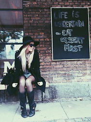 Joicy Muniz - H&M Hat, Love.D Sunglasses, H&M Coat, Ow Line Shorts, Via Marte Boots - Life is uncertain, eat dessert first