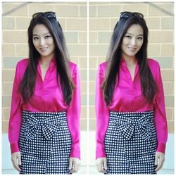 Kimberly Kong - Talbots Blouse, Style Check In Skirt - Workwear Wednesday:  The Bow Skirt
