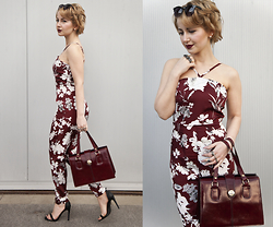 Julia Loewenherz - Burgundy Flower Jumpsuit, Bordeaux Bag, Missguided Barely There Heels - ⅢBurgundy,Marsala,BordeauxⅢ