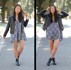 Shirley M - The Style Club Black Leather Jacket, Zara Blue Printed Romper, Steve Madden Black Chelsea Boots - Printed Happiness