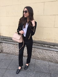 Ana Teodora Ion - Chanel Black Python Flats, Givenchy Straight Cut Trousers, Dolce & Gabbana Medium Miss Sicily, Saint Laurent Military Jacket, Miu Sunglasses - Back to basics