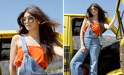 Selena Cruz - Liberation Vintage Terrycloth Tube, Liberation Vintage Denim Bell Overalls - Hollywood