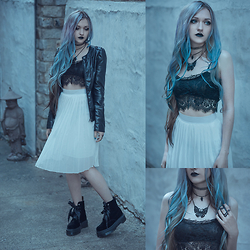 Anya Anti - Floral Lace Top Bra, Chiffon Midi Skirt, Dr. Martens Molly Boots, Rouge&Wolf Tooth Choker & Rings - Black lace