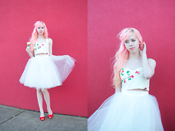 Kailey Flyte - Nishe Cherry Crop Top, Alexandra Grecco Tulle Skirt, Mel Jelly Red Shoes - Cherries Jubilee