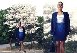Ka Martins - Ombre Lace Skirt (3 Tones), Blue Boyfriend Blazer, Black Purse, Black Peeptoes, Mac Cosmetics Ombre Lipstick (Rebel + Snob), White Satin Top - Blue is the happiest color