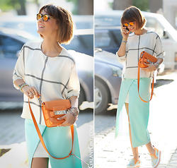 Galant-Girl Ellena - Proenza Schouler Cross Body Bag, Msgm Slip Ons - TurQuoise!