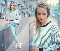 Anna Pogribnyak - Style Moi Sweater, Dressgal Bag, Dressgal Sandals, Bershka Jeans - Braided hairstyle