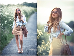 MELODY La Minute Fashion - New Look Skirt, Bershka Shirt, Stradivarius Fringes Bag, New Look Sunglasses, Zara Shoes - Suede x Denim
