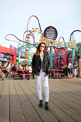 Liz Kao - Blank Nyc Leather Fringe Jacket, J Brand White Distressed Jeans, Jeffrey Campbell Oxfords - Santa Monica Pier