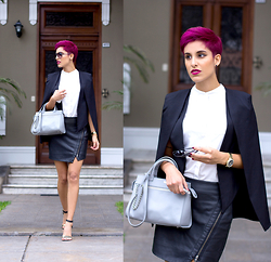 Adriana Seminario - Prune Grey Bag, Steve Madden Black Stilettos, Basement Fake Leather Black Skirt, Anima Black Blazer Vest - Purple hair, don't care