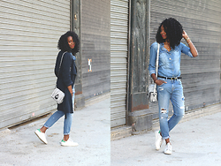 Stephanie C - Mint & Berry Trench, Adidas Sneakers - TOTAL DENIM