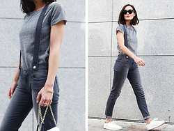 Anouska Proetta Brandon - Paige Denim Jeans, Celine Glasses, Dvf Bag, Shoes - Grey Mood | Suspenders