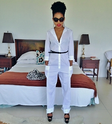 Natasha Lee - Quay Retro Sunnies - White Jumpsuit