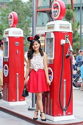 Olivia Yuen - Disneyland Minnie Ears, Topshop Earrings, Kohl's Top, Kohl's Skirt, Topshop Bracelets, Zara Bag, Asos Shoes - Minnie Mouse Farewell