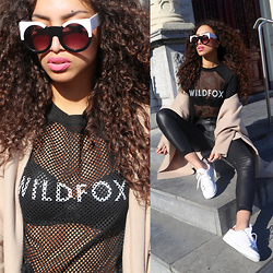 Larissa B. - Wildfox Wildofox Black Mesh Sweater, Byvar Camel Maxi Coat, Mostwantednl Black Leather High Waist Pants, Sacha White Sneakers Stan Smith Look, Wildfox Black And White Cat Eye Retro Granny Oversize Sunnies - WILDFOX
