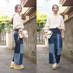 Yu Kuwabara - Jun Mikami Hand Knitted Bodysuit, G.V.G.V. Patchwork Like Bleach Wide Denim Jeans, Durbuy Wood Sole German Trainers, Dholic Leather Clutch Bag - Patchwork-like