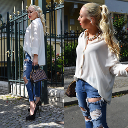 Vanessa Kandzia - Zara Ripped Jeans, River Island Necklace - FAMILY CELEBRATION