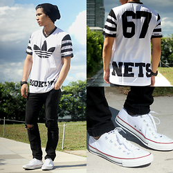 Nick Ronquillo - Adidas Jersey, Converse Sneakers - Monochrome