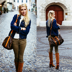 Eleonore Marie Stifter - Zara Olive Green Jeans, Massimo Dutti Brown Boots, Louis Vuitton Travel Bag, Blues Denim Jacket, H&M White Turtle Neck Top - Weekend Trip
