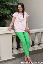 Zocha Fashion - Vertus Jeans Blouse, Cocomore Pants, Venezia Bags, Fabio Fabrizi Boots - Green pants and coral