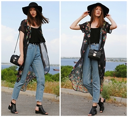 Yulia Sidorenko - Persunmall Mom Jeans, Style Moi Maxi Kimono, Centro Hat, Nanet Bag, Asos Cutout Boots, Vera&Lucy Top - Wind in my hair