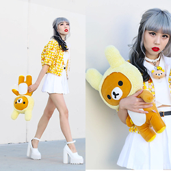 Essy Noir - The Japan Hime Rilakkuma Bomber, Deandri Nancy Skirt, Jeffrey Campbell Scully, Diy Rilakkuma Choker - Yellow Tales