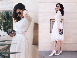 Katu Mikheicheva - Befree Lace Skirt, Befree Lace Top, Bebe Shiny Clutch, Misha4sure Fashikn Eyewear, Love Republic White Heels - Romantic monday