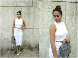 Pooja Mittal - Stalkbuylove White Coords - Kim Kardashian Inspired Outfit-High Waist Skirt Crop Top